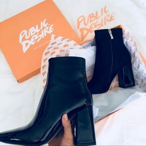Public Desire Two tone Chaos Ankle Boots